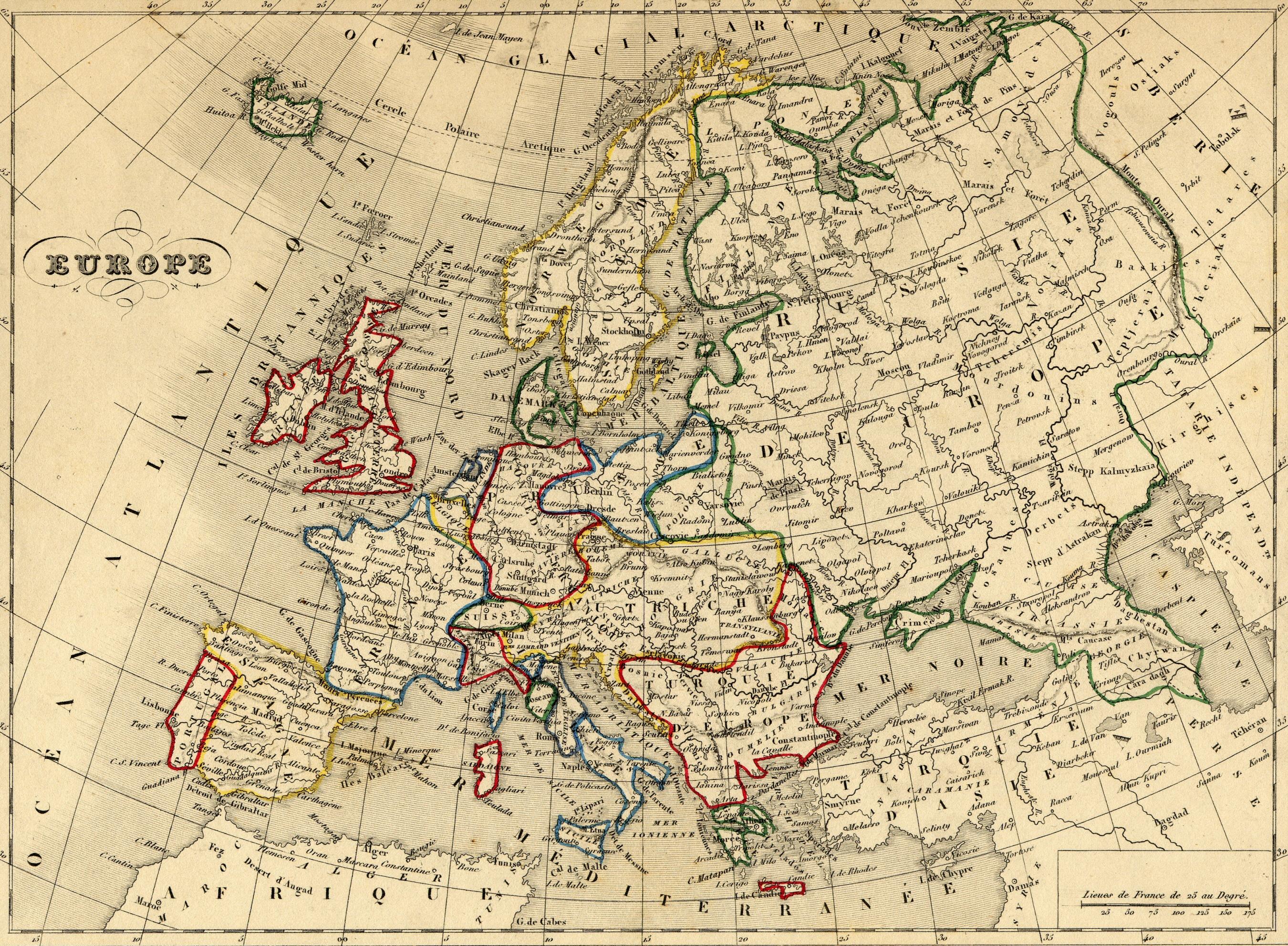 Carte de l europe de 1843