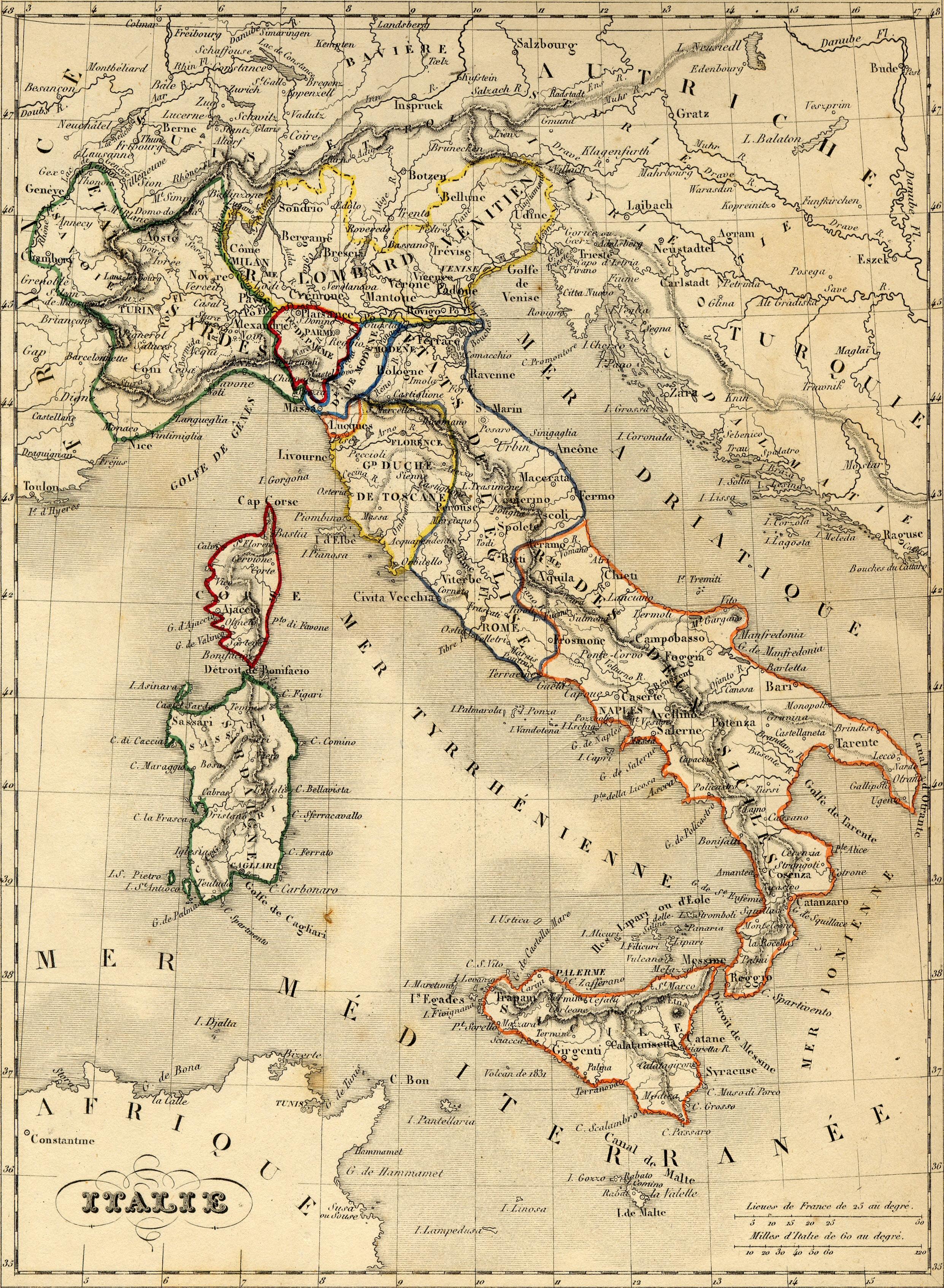 Carte geographique ancienne de l'Italie   Alexandre Vuillemin   1843