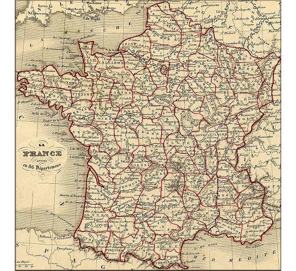 carte de france 1850
