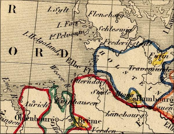 Helgoland / Heligoland - carte geographique ancienne de 1843